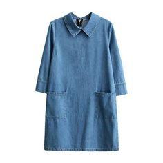 Folded Collar 3/4 Sleeve Zip Back Plain Denim Shift Dress with Double... (10.770 HUF) ❤ liked on Polyvore featuring dresses, shift dresses, collared dresses, 3 4 length sleeve dress, three quarter sleeve dress and 3 4 sleeve shift dress