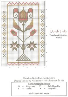 Dutch Tulip Free Cross Stitch Pattern Chart ~ Pretty soft primitive color palate.
