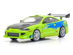 Green Light Collectibles 1:43 Mitsubishi Eclipse Diecast Model Car GL86203 This Mitsubishi Eclipse (1995) Diecast Model Car from The Fast and The Furious is Lime Green and has working wheels and also comes in a display case. It is made by Green Light Collectibles and is 1:43 scale (approx. 9cm / 3.5in long).  #GreenLightCollectibles #ModelCar #Mitsubishi