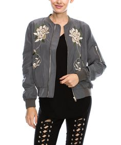 Look at this Gray Floral Bomber Jacket on #zulily today!