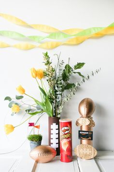DIY craft football flower vase and trophy using Pringles can - Legal Miss Sunshine #football #diy #craft