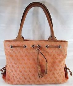 DOONEY-BOURKE-ORANGE-SIGNATURE-JACQUARD-W-TASSEL-SATCHEL-HANDBAG