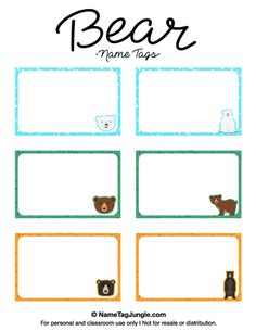 Free printable bear name tags. The template can also be used for creating items like labels and place cards. Download the PDF at http://nametagjungle.com/name-tag/bear/