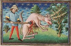 An antelope, its saw-like horns caught in a bush, is bloodily slaughtered by a hunter.  Museum Meermanno, MMW, 10 B 25, Folio 4r