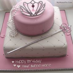 Best #1 Website for name birthday cakes. Write your name on Birthday Cake for Girl Princesss picture in seconds. Make your birthday awesome with new happy birthday greetings cakes. Get unique happy birthday cake with name.