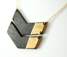Wooden Colorblock Chevron Necklace  by The Knotty Owl
