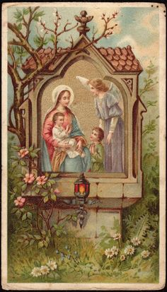 Mary with Small Children and Guardian Angel and roses.