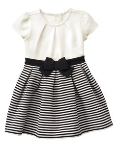 Toddler Girls Black Stripe Pleated Dress by Gymboree