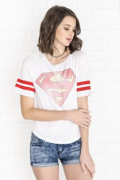 Heather grey, red & white Superman raglan tee - PJs & Robes - Clothing | Ardene Official Online Store