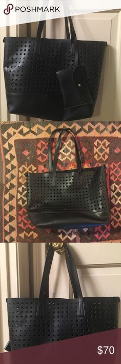 """Perforated Black Leather Tote with Coin Purse I don't know about you, but when spring and summer come around, I don't always want to carry a black purse. This black tote solves the problem of the heavier look of a black tote with the perforations. It is the perfect spring/summer bag complete with snap coin purse (see pics). I love this bag because it is light, goes with everything, and is so chic. I am moving abroad and cannot take all my purses, sadly. Dimensions:  17"""" x  12"""" x 6"""". Strap…"""