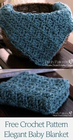 Free Crochet Pattern - a gorgeous little crochet baby blanket pattern or basket stuffer photography prop. Includes directions to make it larger too, so you can make one in any size. By Posh Patterns.