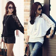 Sexy Womens Ladies Batwing Lace Long Sleeve Loose T-Shirt Blouse Top White Black in Clothes, Shoes & Accessories, Women's Clothing, Tops & Shirts | eBay