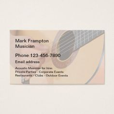 Acoustic Guitar Musician Business Card - modern gifts cyo gift ideas personalize