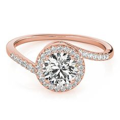This is a beautiful rose gold halo engagement rings. Which has a handcrafted rose gold halo ring design unlike any other, Featuring one sparkling