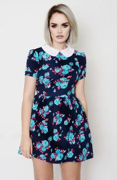 Floral Flare Peter Pan Collar Dress