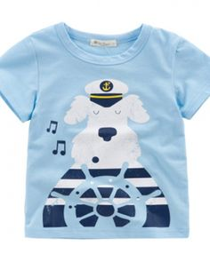 7a0997f842 Cartoon theme Sailboat cotton t shirts for baby 2 to 6 years old wild  blouse-