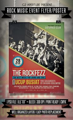 Rock Music Event Flyer / Poster  - PSD Template • Only available here ➝ http://graphicriver.net/item/rock-music-event-flyer-poster/16860780?ref=pxcr