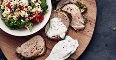 Porsaan sisäfilee ja kuskussalaatti |foodmarketherkku.fi Feta, Camembert Cheese, Dairy, Red Peppers
