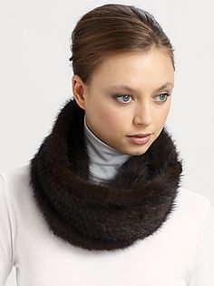 Adrienne Landau Knitted Mink Loop Scarf Sale $238.80 Original $398.00 #SaksFifthAvenue