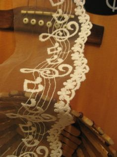 White Lace Trim Embroidered Musical Note Cotton Bridal Lace Fabric Wedding Decors 2 yards. $4.99, via Etsy. @Katherine Taylor