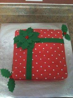 Christmas Present Cake For a work Christmas party. Mostly fondant. Christmas Present Cake, Fondant Christmas Cake, Christmas Cakes, Holiday Cakes, Christmas Baking, Christmas Holidays, Xmas Cakes, Holiday Foods, Christmas Cake Designs