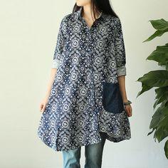 Irregular hem side pockets Retro Unique Blue pattern loose long-sleeve shirt- Expedited Shipping