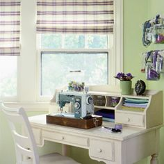 Got a vintage sewing machine? Play it up in your decor by showing it off on a secretary desk and mixing it with pastel hues.