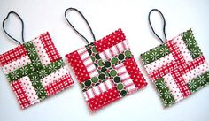 Christmas Ornaments Quilted Tiny Quilts for by QuiltyMcQuilterson, $15.00