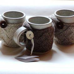 hand-knitted mug warmers