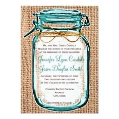 This rustic country wedding invitation features a mason jar design with a teal turquoise blue tint and a twine bow around it, on top of a printed vintage burlap jute design.  The burlap and twine are just printed designs, not actual burlap fabric or twine rope.  These are perfect for any rustic county wedding, especially ones that will be using mason jars and burlap in their wedding decor and wedding reception decorations.  This wedding invitation template can be customized with your own ...