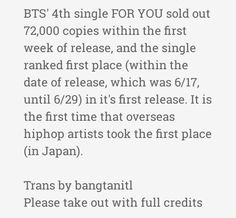 Trans of Oricon News about #BTS 4th single FOR YOU taking over the first place