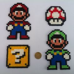 Mario Themed Perler Sprites 4 Pack by TieDyePixels on Etsy