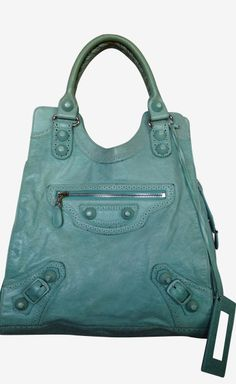 Balenciaga teal tote need this for playoffs
