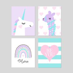 Unicorn Decor Llama Decor for Girls Bedroom Decor, Young Girl Room Decor, Rainbow Print, Llama Room Decor, Set of 4 Unicorn Prints or Canvas