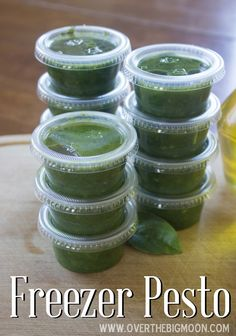 How to make fresh pesto and then freeze it to enjoy later!  From www.overthebigmoon.com!