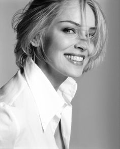Smile for me! Ms. Sharon Stone ✮✮ Please feel free to repin to Pinterest ♥ღ if you Want to have perfect white teeth like this? Beware of bleaching treatment see at here for the answer why