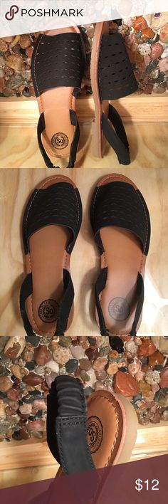 Laser Cut Black Sandals w Slight Heel NWT Authentic American Heritage. Very padded. Stretchy back of heel. Lining is textile. Fabulous stitching. I never wore them but I don't have the tag. Please look at pictures and you will know they are new. Very comfortable. Non smoking home Authentic American Heritage SO Shoes Sandals