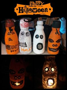 Recycled creamer bottles for Halloween decorations Plastic Container Crafts, Plastic Bottle Crafts, Reuse Containers, Diy Halloween Decorations, Halloween Crafts, Halloween Pumpkins, Autumn Crafts, Holiday Crafts, Coffee Creamer Bottles