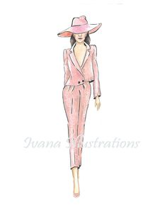 Printable pink fashion illustration by IvanaIllustrations on Etsy #fashionillustration #pinksuit #pinkoutfit #fashionillustrator #fashionsketch #printableposter #printablewallartdecor #printablefashionillustration #fashionart #IvanaIllustrations