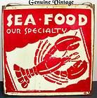 REAL VINTAGE METAL TIN ADVERTISING SIGN LOBSTER SEA FOOD OUR SPECIALTY KITCHEN
