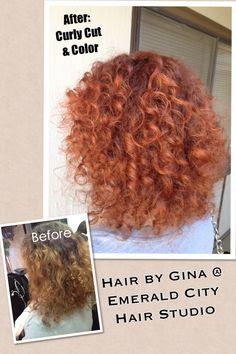 Curly Hair Cut. Natural Curly Hair. Curly hair color. Red hair. Emerald City Hair Studio • Citrus Heights, CA. #EmeraldCityHair #AvedaColor. www.EmeraldCityHair.com hair by Gina