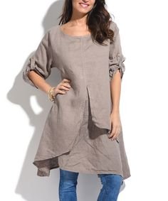 Taupe Layered Linen Tunic
