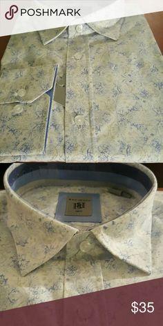 Casual shirt 100% cotton. White button down casual shirt with blue floral like print Bachrach Shirts Casual Button Down Shirts
