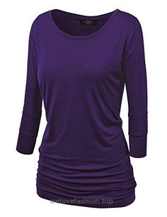MBJ WT822 Womens 3/4 Sleeve with Drape Top S DARK_PURPLE  BUY NOW     $21.36    This tunic will become your Weekend Warrior top, a running around doing errands to casual dinner ala fresco to Sunday brunch. A go to top thats made out of super soft ..