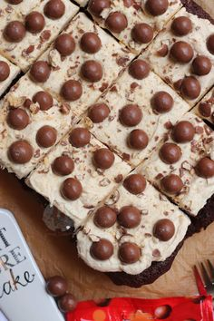 Thick and Fudgey Malteser Traybake Cake with a Malt Fudge Sponge, Malt Buttercream Frosting and Maltesers! Perfect for parties and Malteser fans! Tray Bake Recipes, Sheet Cake Recipes, Baking Recipes, Easy Recipes, Chocolate Coconut Slice, Chocolate Cake, Malteaser Cake, Traybake Cake, Janes Patisserie