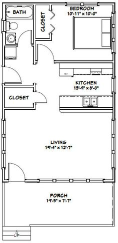 Outstanding 14X28 Tiny House 14X28H3A 391 Sq Ft Excellent Floor Plans Largest Home Design Picture Inspirations Pitcheantrous