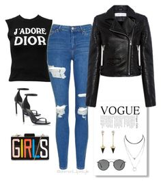"""""""#jeans#voge#style"""" by evelinvalenciagomez on Polyvore featuring moda, Yves Saint Laurent, Christian Dior, Topshop, Brixton, IRO y Ray-Ban"""