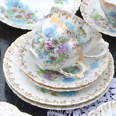 Wicksteads Tea Parties Everything for The Quintessential Afternoon Tea Pretty Antique Bavarian Tea Set Trio. Matching Teacup, Saucer and Side Plate. Delicate fluted shape cup, with fluted rims on the saucer and plate. Embossed swirled pattern white bone china with a floral transfer print,