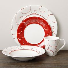 The Red Vanilla Panache Rouge 16-piece dinner set is both durable and dishwasher safe. This dinnerware set features sophisticated, modern charm that is sure to impress guests and provide the perfect frame for any meal.