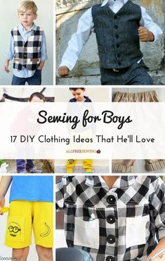 Sewing For Kids Clothes Sewing for Boys: 17 DIY Clothing Ideas That He'll Love Boys Sewing Patterns, Sewing Men, Sewing Clothes Women, Sewing Pants, Love Sewing, Diy Clothing, Dress Patterns, Children Clothes, Clothing Stores
